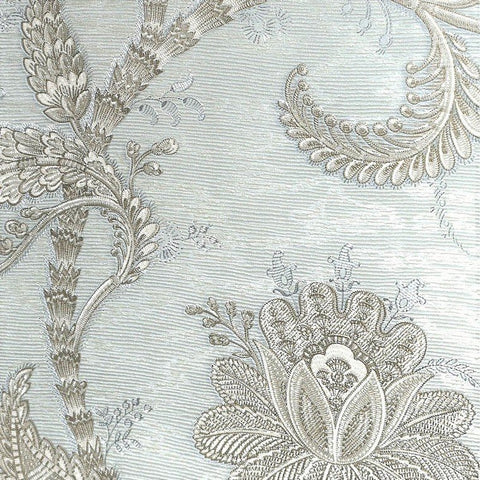 Larina Floral Textured Wallpaper in Metallic Pale Green by BD Wall
