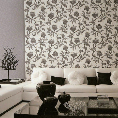 Larina Floral Textured Wallpaper in Black and Metallic Pearl by BD Wall