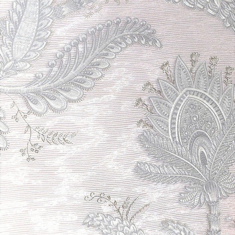 Larina Floral Textured Wallpaper in Metallic and Pearl by BD Wall