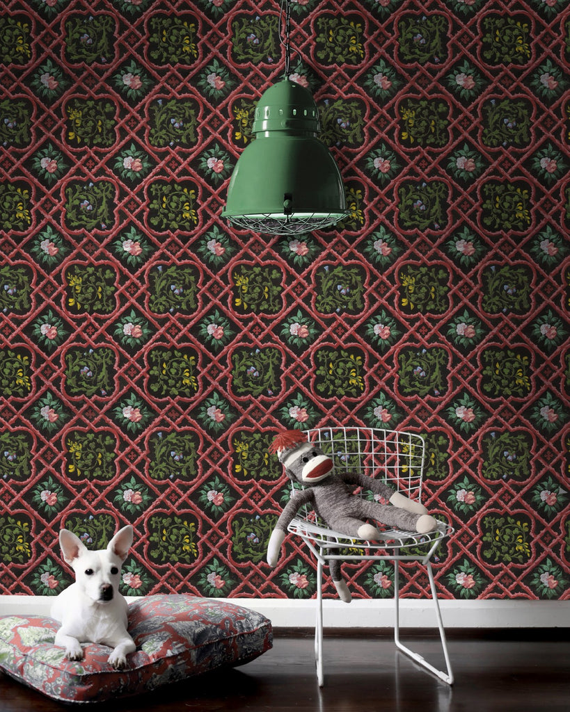 Latticework Wallpaper in Black, Green, and Red from the Eclectic Collection by Mind the Gap
