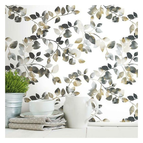 Latvus Peel & Stick Wallpaper in Black and Taupe by RoomMates for York Wallcoverings