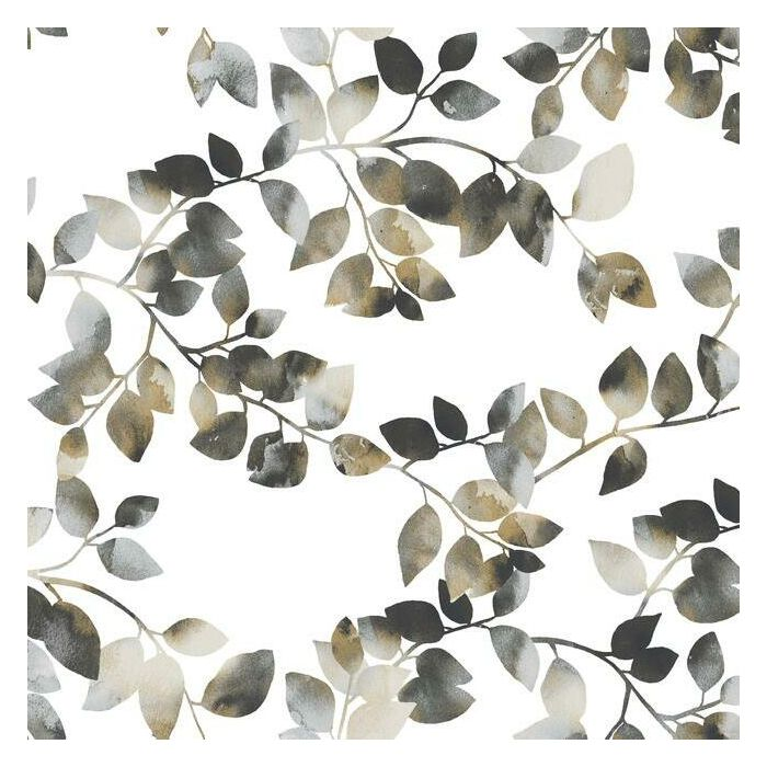 Sample Latvus Peel & Stick Wallpaper in Black and Taupe by RoomMates for York Wallcoverings