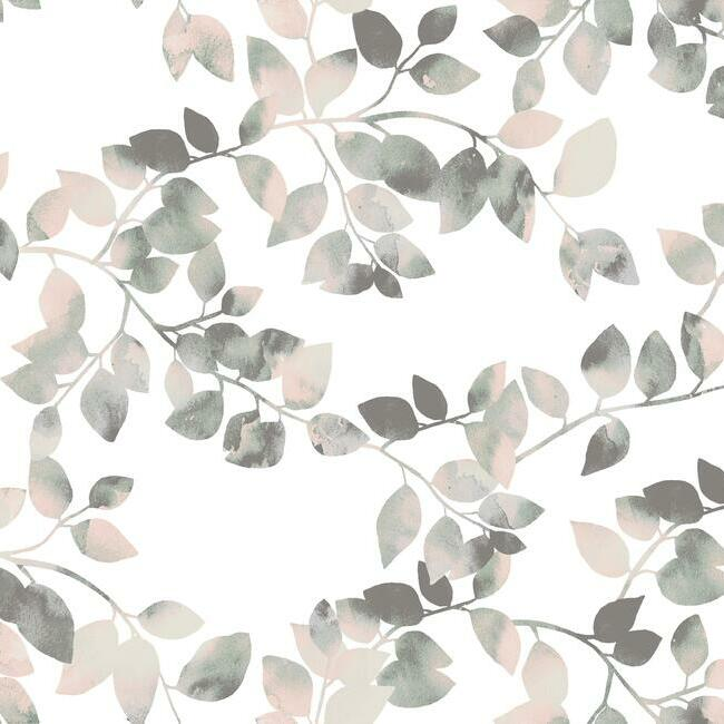 Sample Latvus Peel & Stick Wallpaper in Pink and Green by RoomMates for York Wallcoverings