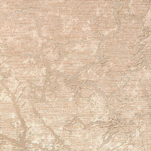 Laura Cracked Plaster Textured Wallpaper in Beige and Metallic by BD Wall