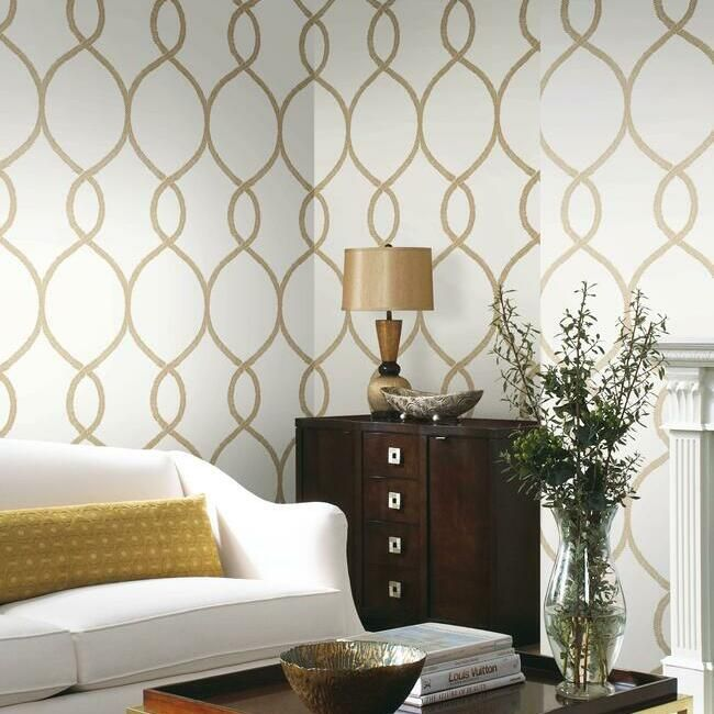 Laurel Leaf Ogee Wallpaper in Gold from the Ronald Redding 24 Karat Collection by York Wallcoverings