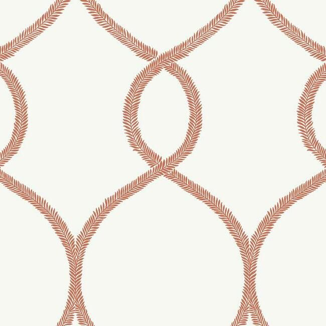 Sample Laurel Leaf Ogee Wallpaper in Orange from the Ronald Redding 24 Karat Collection by York Wallcoverings