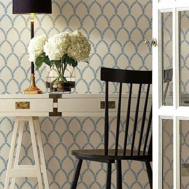 Laurel Wallpaper in Blue and White from the Rifle Paper Co. Collection by York Wallcoverings