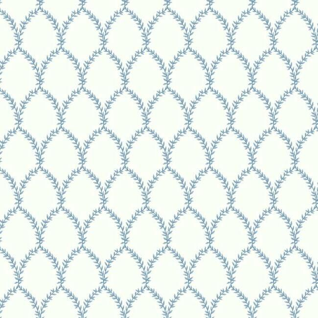 Sample Laurel Wallpaper in Blue and White from the Rifle Paper Co. Collection by York Wallcoverings