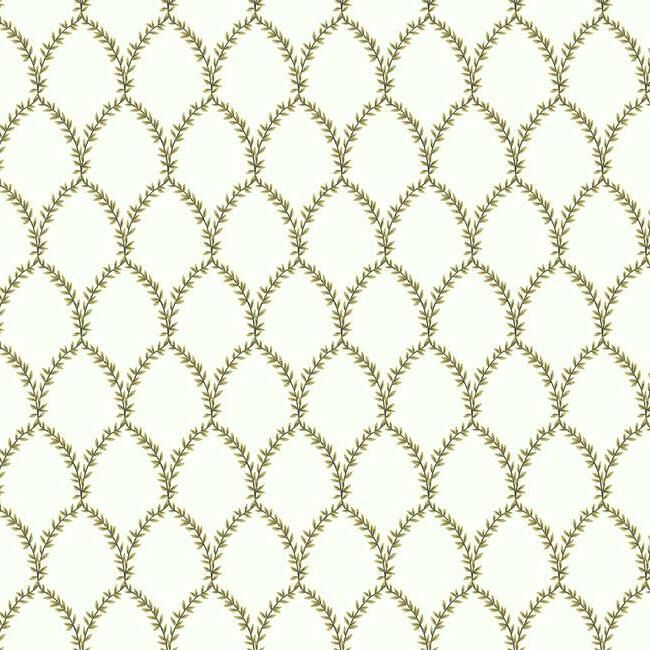 Sample Laurel Wallpaper in Gold and White from the Rifle Paper Co. Collection by York Wallcoverings