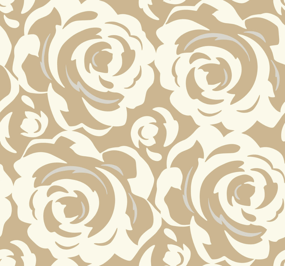 Lavish Wallpaper in White on Gold from the Breathless Collection by Candice Olson for York Wallcoverings