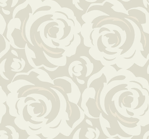 Lavish Wallpaper in White on Grey from the Breathless Collection by Candice Olson for York Wallcoverings