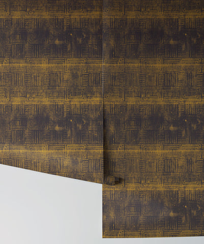 Layered Boho Wallpaper in Gold Night from the Wallpaper Republic Collection by Milton & King
