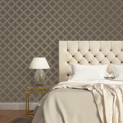 Layered Love Self Adhesive Wallpaper in Bronze and Metallic Champagne by Tempaper