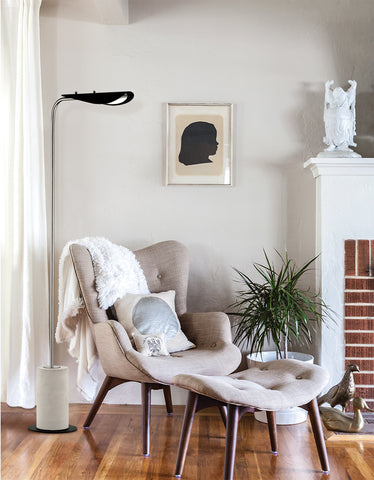 Layla Floor Lamp With A Concrete Base by Mitzi