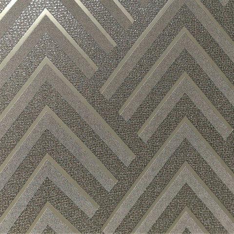 Layla Chevron Textured Wallpaper in Metallic and Dark Grey by BD Wall