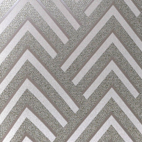 Layla Chevron Textured Wallpaper in Metallic and Grey by BD Wall