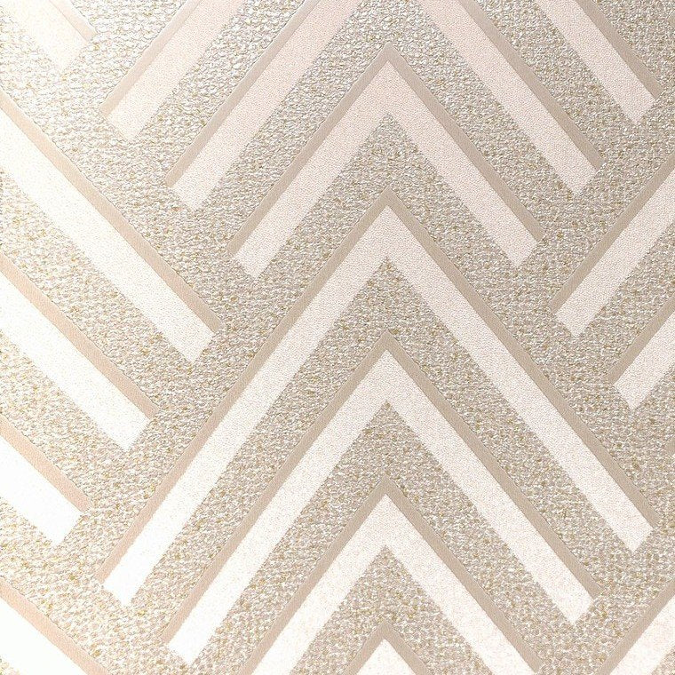 Sample Layla Chevron Textured Wallpaper in Metallic and Light Beige by BD Wall