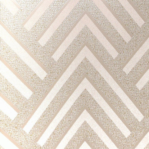 Layla Chevron Textured Wallpaper in Metallic and Light Beige by BD Wall