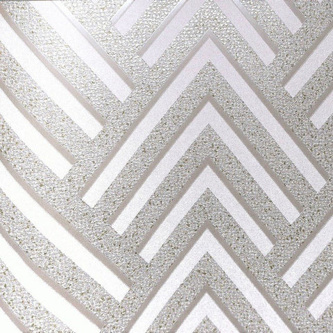 Layla Chevron Textured Wallpaper in Metallic and Light Grey by BD Wall