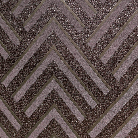Layla Chevron Textured Wallpaper in Metallic and Plum by BD Wall