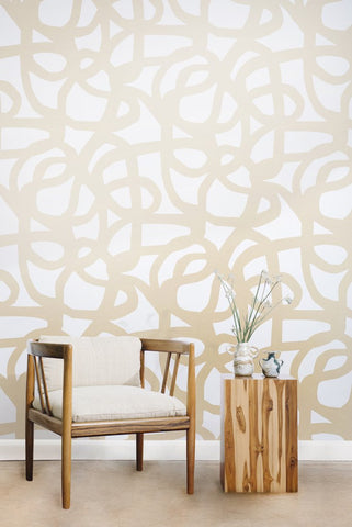 Le Freak Wallpaper in Champagne on Cream design by Juju