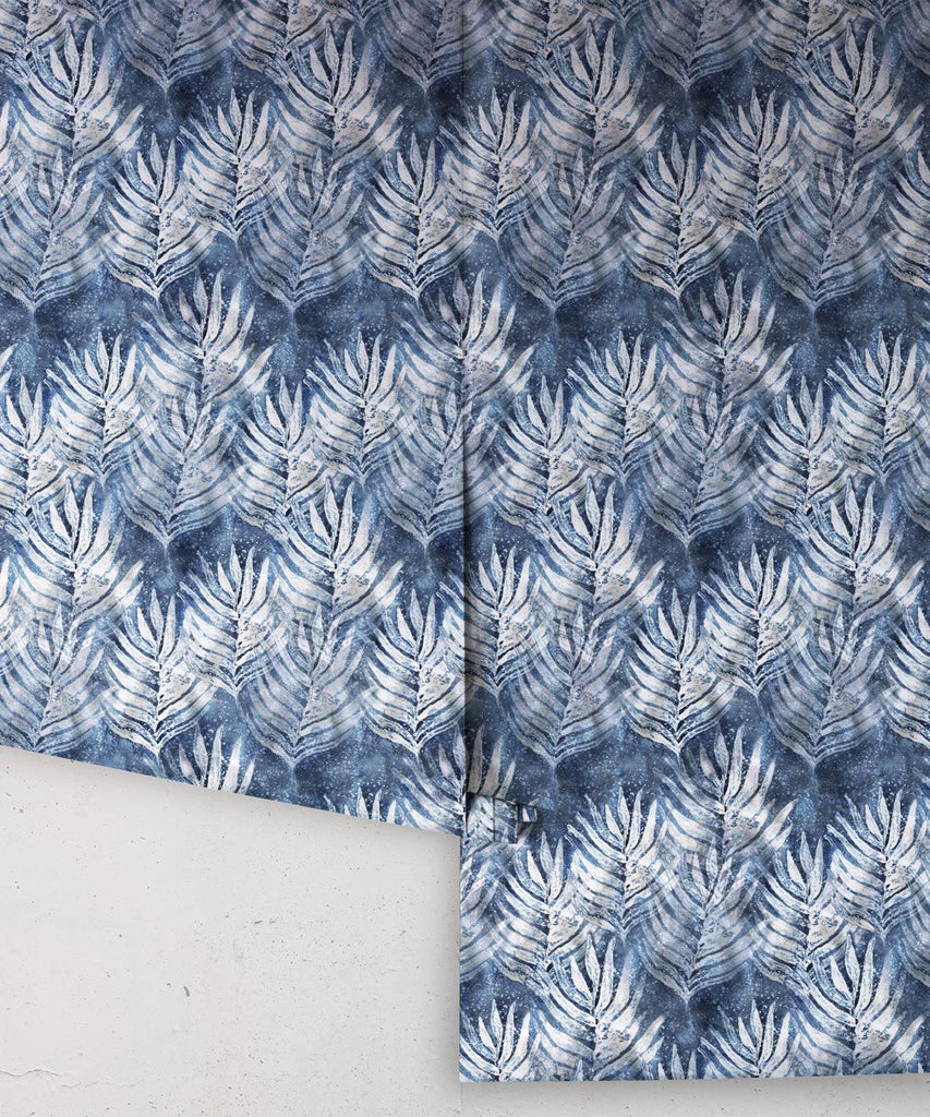 Leaf Wallpaper in Indigo from the Shibori Collection by Milton & King