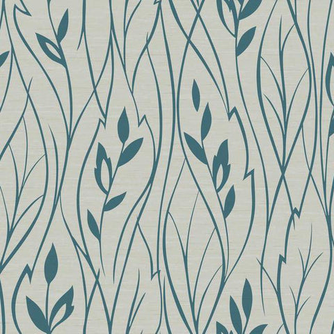Leaf Silhouette Wallpaper in Grey and Metallic Aqua by York Wallcoverings