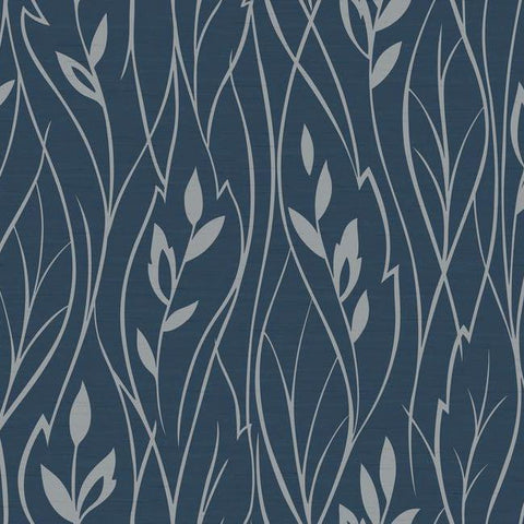 Leaf Silhouette Wallpaper in Navy and Gleaming Silver by York Wallcoverings