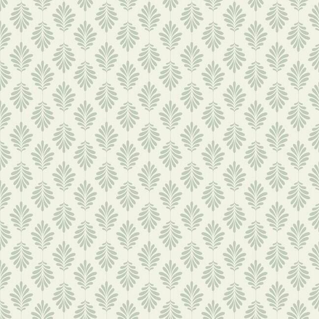 Leaflet Wallpaper in Green from the Silhouettes Collection by York Wallcoverings