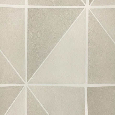 Leather Geometric Wallpaper in Beige and Grey from the Precious Elements Collection by Burke Decor