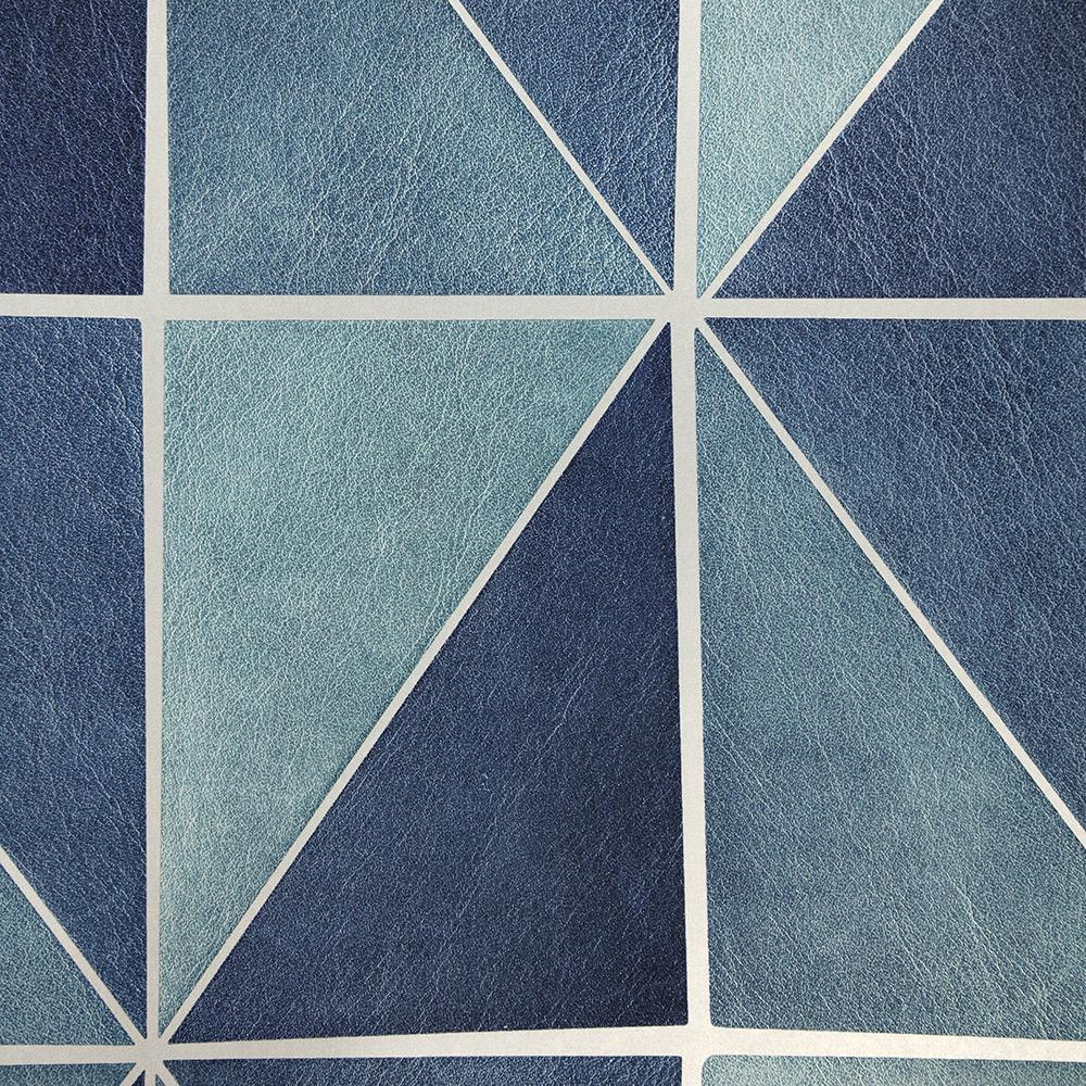 Sample Leather Geometric Wallpaper in Blue from the Precious Elements Collection by Burke Decor