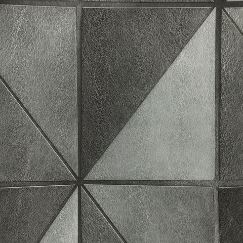 Leather Geometric Wallpaper in Charcoal from the Precious Elements Collection by Burke Decor