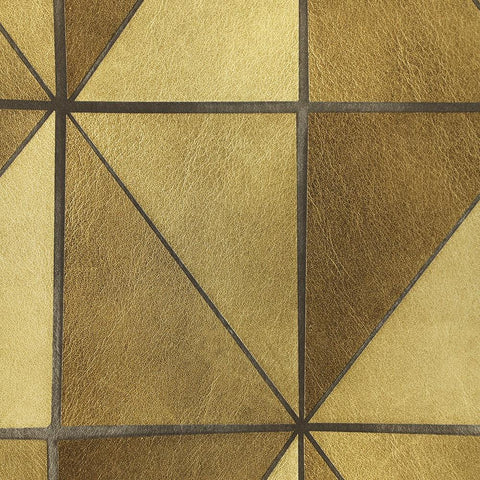 Leather Geometric Wallpaper in Gold from the Precious Elements Collection by Burke Decor