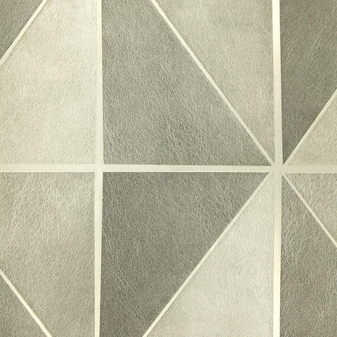 Leather Geometric Wallpaper in Grey from the Precious Elements Collection by Burke Decor