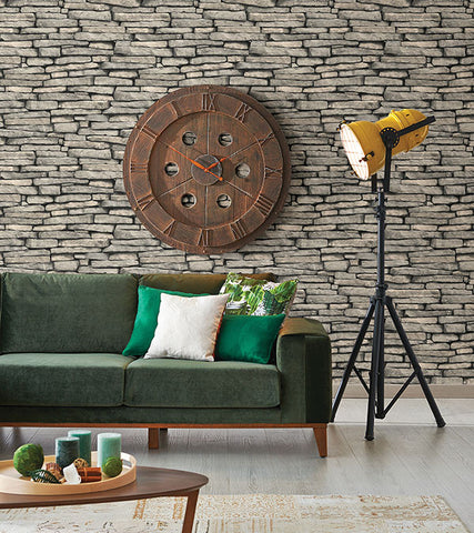 Ledge Grey Slate Wall Wallpaper from the Essentials Collection by Brewster Home Fashions