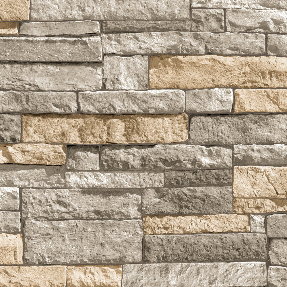 Sample Ledgestone Wallpaper in Grey and Terracotta from the Strata Collection by Graham & Brown