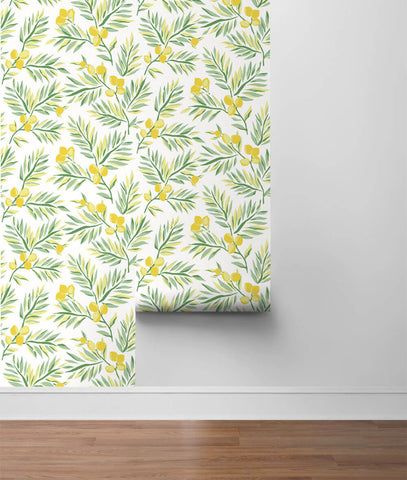 Lemon Branch Peel-and-Stick Wallpaper in Lemon and Sage by NextWall