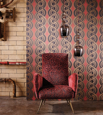 Lempicka Wallpaper in Coral and Dark Dove from the Fantasque Collection by Osborne & Little