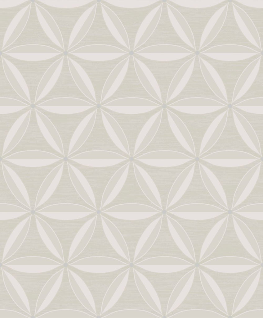 Sample Lens Geometric Wallpaper in Beige and Off-White from the Casa Blanca II Collection by Seabrook Wallcoverings