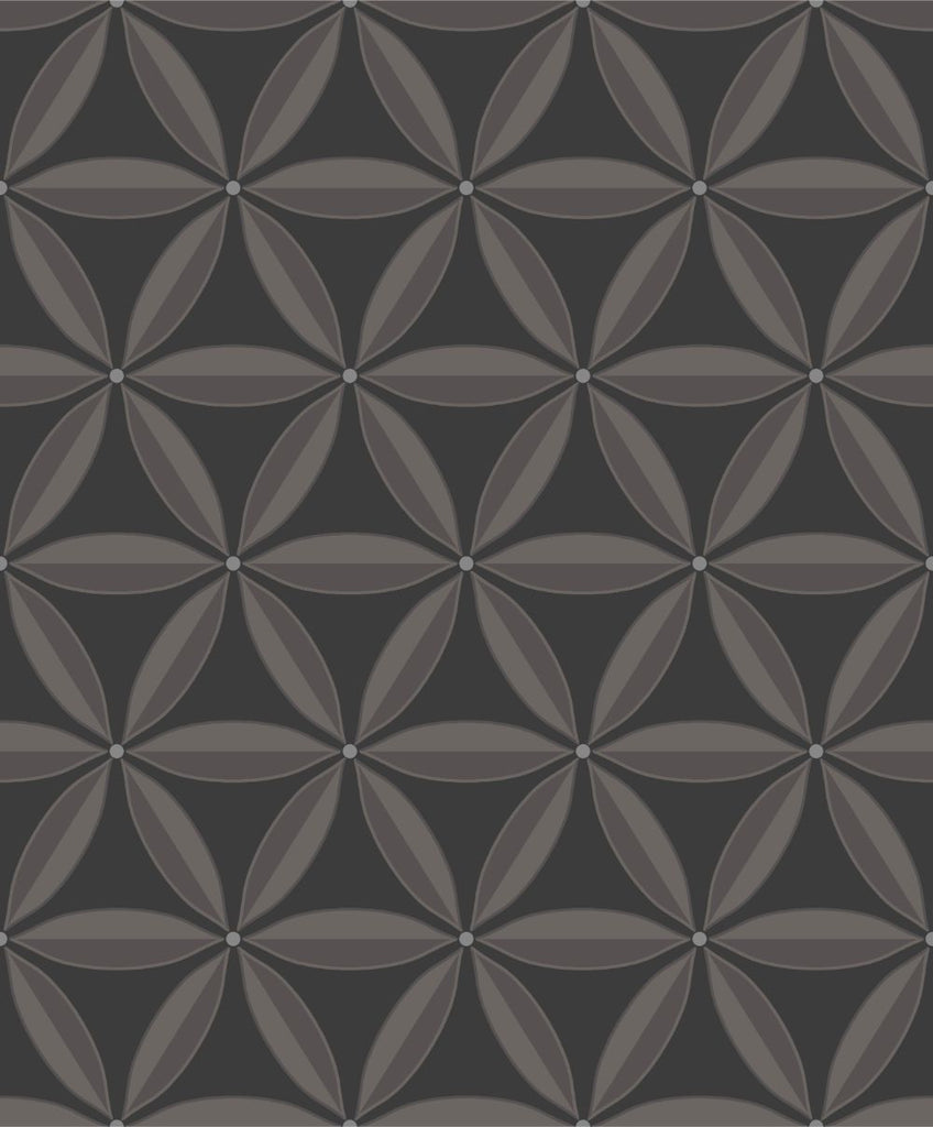 Lens Geometric Wallpaper in Ebony and Charcoal from the Casa Blanca II Collection by Seabrook Wallcoverings