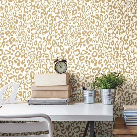 Leopard Peel & Stick Wallpaper in Gold by RoomMates for York Wallcoverings