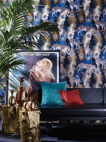 Leopardo Wallpaper in Metallic Gilver and Jade by Matthew Williamson for Osborne & Little
