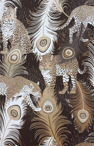 Leopardo Wallpaper in Black and Metallic by Matthew Williamson for Osborne & Little