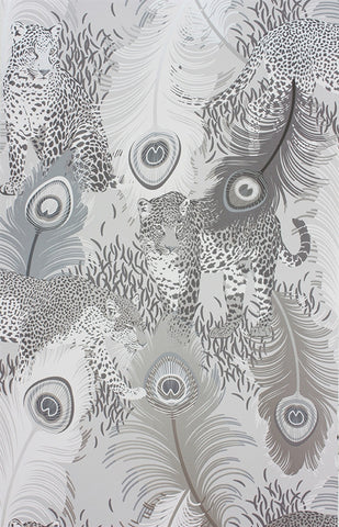 Leopardo Wallpaper in Metallic Silver by Matthew Williamson for Osborne & Little