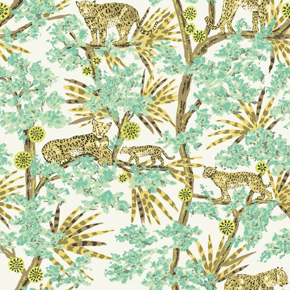 Leopards Self-Adhesive Wallpaper in Lime by Tempaper