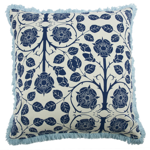 "Liberty 22"" Linen/Cotton Pillow in Indigo design by Thomas Paul"