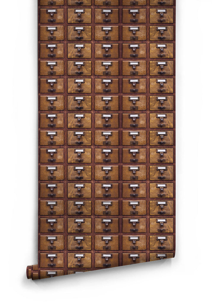 Sample Library Card Boutique Faux Wallpaper design by Milton & King