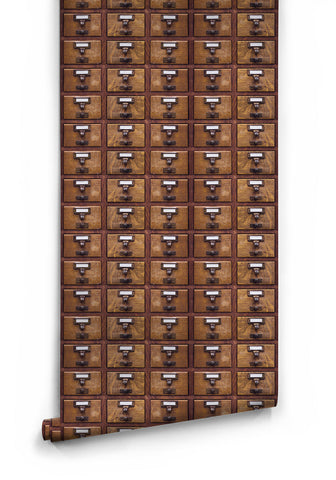 Library Card Boutique Faux Wallpaper design by Milton & King