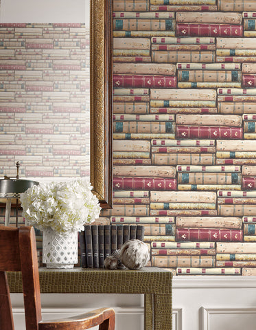 Library Wallpaper in Classic Red from the Vintage Home 2 Collection by Wallquest