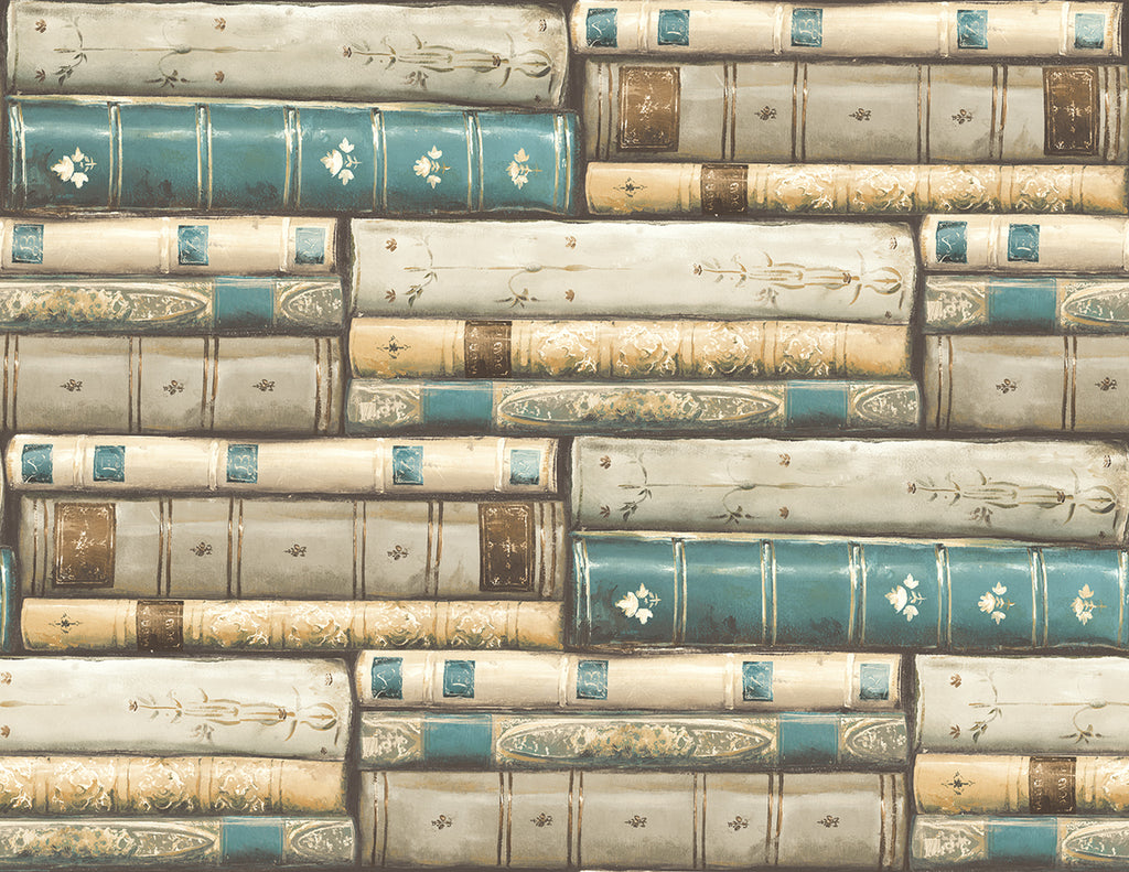 Library Wallpaper in Teal from the Vintage Home 2 Collection by Wallquest